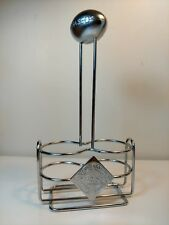 Tabasco Silver Color Metal Condiment Stand for 2 Bottles Football Theme     18