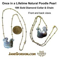 New: Once-in-a-Lifetime Poodle Shape Pearl necklace pendant Diamonds in 18K Gold