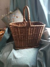 """Vintage French Provence Wicker Rattan Nut Gathering Handle Basket 15"""" X 17"""""""