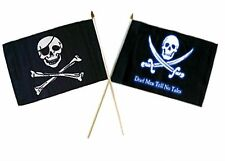 "12x18 12""x18"" Wholesale Combo Pirate Eye Patch & Dead Men Tell Tale Stick Flag"
