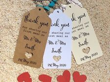 10 Kraft Brown Gift Tags Wedding Favour Bomboniere Personalised First Meal V3