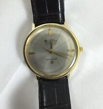 Vintage Lucien Piccard Seashark 14k Yellow Gold Wrist Watch With Gucci Strap