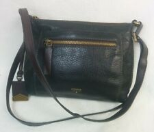 Fossil 1954 Black/ Tan Leather Double Strap Shoulder Bag With Toggle Vgc    #947