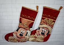 Disney Parks Mickey & Minnie Mouse Red Victorian Christmas Holiday Stocking
