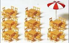 8 Tische 48 Stühle 1 Sonnenschirm  Preiser 17201 Spur HO (16,5 mm) Zubehör OVP