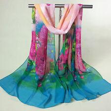 Fashion women Colorful flowers chiffon scarf long scarf shawl A03