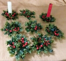 """Set of 8 Vintage Plastic Holly & Berry Foliage 1"""" Christmas Decor Candle Rings"""