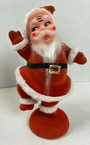 "Vintage Red Flocked Santa Dancing on One Leg 1960's 8.5"" Tall #21H"
