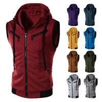 Mens Causal Sleeveless Muscle Gym Vest Zipper Full Zip Up Hooded Hoodie Jacket