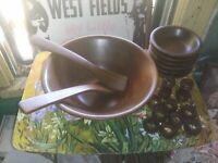 Vintage Heirloom Walnut Wooden Salad Bowl Set (19 pcs) / Mid Century Lebanon MO