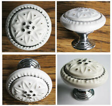 Cabinet Kitchen cupboard Door Mushroom ceramics Knob Pull handle w/ Sliver lace