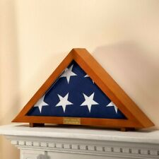 Military Veteran's Memorial Burial Flag Display Case Personalized Plaque Free