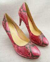 Cole Haan Air Platform Pump Tall Heels Pink Snake Print Leather Women's 11 B