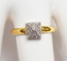 Art Déco Damenring 18 Karat 750 Gold Weißgold Gelbgold 2,63g 24 Diamanten Gr. 54