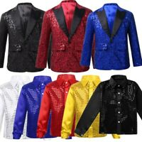 Kids Boys Jacket Coat Blazer Tuxedo Shirt Sequins Lapel Button Suit Party