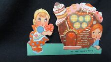 Vintage Hansel & Gretel Gingerbread house Valentine Card c. 1940s unused