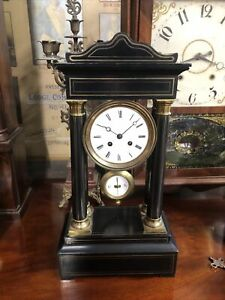 Fine Antique French 4 pillar portico clock bell striking circa 1860 working well