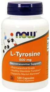 NOW Foods L-Tyrosine 500 mg 120 Caps Neurotransmitter Support 12/2023EXP