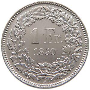 SWITZERLAND 1 FRANC 1850 A RARE #t123 029