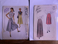 1940s Vintage Sewing Pattern Lot Advance 4010 McCall 7198 Sz 32