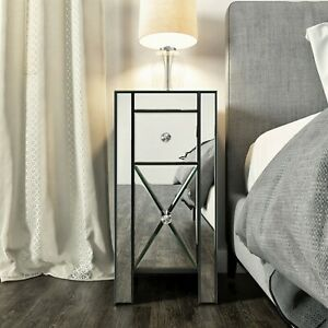Mirrored 2-Drawer Nightstand Accent Table Chest Dresser Storage Silver Bedroom
