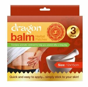 Dragon Balm Herbal Back Plasters Patched Body Muscles Deep Heat (Pack of 3)