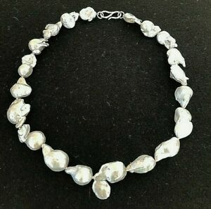 13-16MM PLATINUM GRAY BAROQUE PEARL NECKLACE W/STERLING SILVER  - kbc-affordable