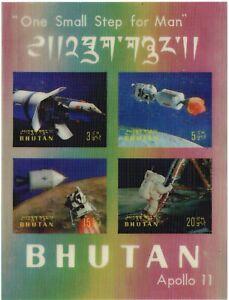 Bhutan.  1969.  Apollo 11 mini sheet on silver background.  MH.  Scott 108 m.