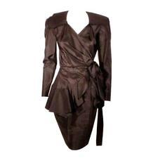 ADOLFO 1980s Black Silk Wrap Dress