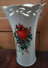 Lenox Winter Greetings Cardinal Vase Red & White