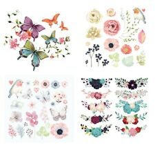 Flowers, Birds & Butterfly Iron-on Printed Patches Transfer Sheets - BU1300