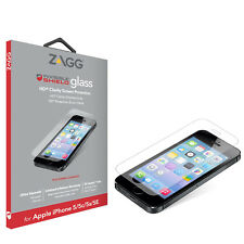 NEW Genuine ZAGG HD Clear Tough Glass Screen Protector For iPhone 5/5S/5C/SE