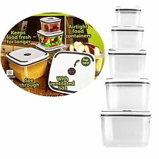 10pc Airtight Vented Food Storage Containers Plastic Set Microwave Freezer Safe