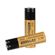 2PC 3.7V 18650 4000mAh 3.7V Rechargeable Li-ion Battery For Flashlight