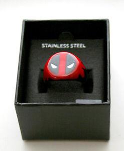 Marvel Comics Deadpool Ceramic & Stainless Steel Logo Ring New Sz 11 Box