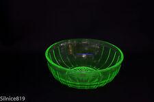 Vintage Hazel Atlas Green Vaseline Glass Ribbed Bowl
