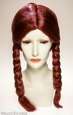 Wig Pigtail Ladies Synthetic Hair Auburn Braided Costume Pigtail Wig OS