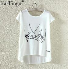 Holding Hands Light Summer T-Shirt Kawaii Harajuku Pastel Goth - LS0017