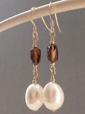 Baroque Fw Pearls & Vintage Topaz Faceted Crystals 14ct Rolled Gold Earrings