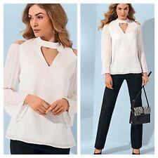 Kaleidoscope Size 16 White Pleat Sleeve Blouse TOP Evening Casual Smart £45j