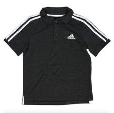 Adidas Boys Short Sleeve Active Polo Shirt 3-Button Placket Medium 10-12 Black