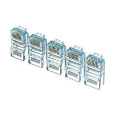 20pcs color Netrack plugs RJ45 8p8c blue transparent UTP for solid cable cat5e