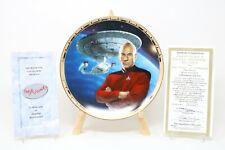 Star Trek Captain Picard Uss Enterprise Power of Command Collector Plate w/Coa