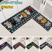 2PCS Non-Slip Kitchen Floor Mat Carpet Area Rug Absorbent Doormat Home Decor ~