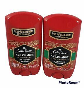 2X Old Spice Ambassador Solid Anti-Perspirant Deodorant,2.6 oz Exp. 12/21 & 8/22