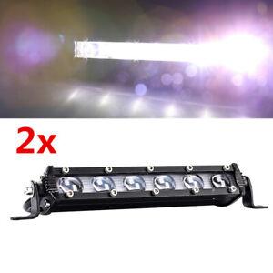Pair Aluminum 6 LED Spot Work Fog Bumper Roof Light Bar Car SUV Offroad Lamp 60W
