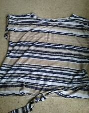 Wallis  Beige & Blue Striped top  - Size L