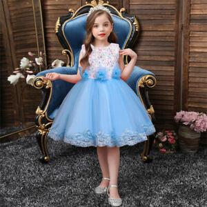 Fashion Lace Kids Tutu Dress Flower Girls Pageant Wedding Bridesmaid Prom Gown