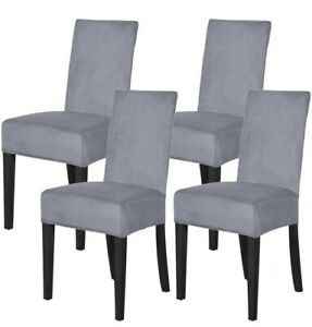 Mecerock Velvet Chair Covers for Dining Room Soft Plush Chair Protector Removabl