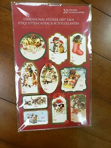 NTW Punch Studio 22718 Dimensional Sticker Gift Tags Christmas Cats & Dogs 20 EA